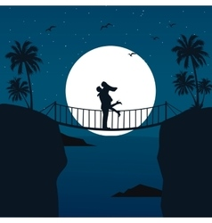 man woman couple hug silhouette with moon in the vector image