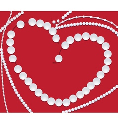 pearls neclace of heart shape vector image vector image