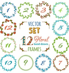set of 12 hand-drawn floral frames vector image