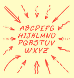 marker hand written doodle arrows and letters vector image vector image