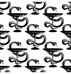 Pharmacy bowls with snakes seamless pattern vector image vector image