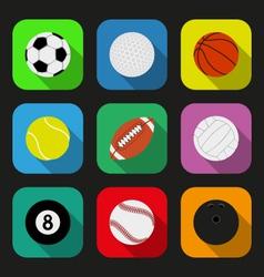 Sport balls flat icons set vector image