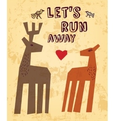 Wild animals love couple deer greeting card vector image