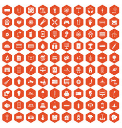 100 energy icons hexagon orange vector image