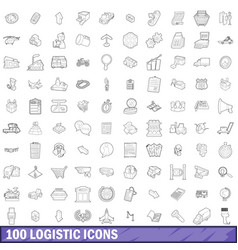 100 logistic icons set outline style vector image