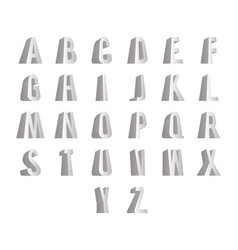 3d standing alphabet big letters font isolated vector