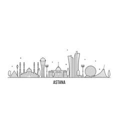 Astana skyline kazakhstan city linear style vector