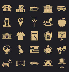 Autobus icons set simple style vector