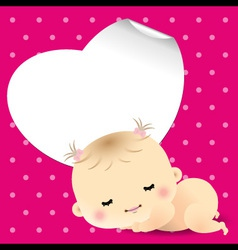 Baby shower card with sweet sleeping newborn baby vector