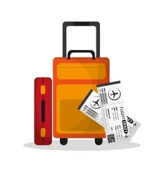 Baggage and ticket to travel design vector