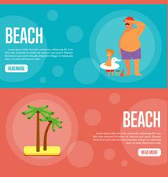 Beach website template set horizontal banners vector