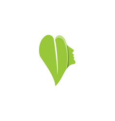 beauty woman face and leaf logo designs vector image