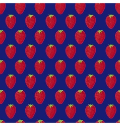 Blue and red strawberry textile print seamless vector image
