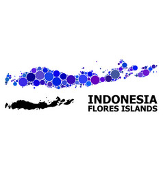 Blue round dot mosaic map indonesia - flores vector