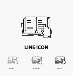 book lesson study literature reading icon in thin vector image