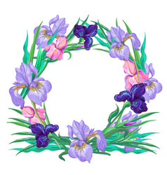 Botanical pink and violet iris wreath vector