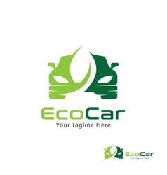 car logo design templatecar with leaf symbol vector image