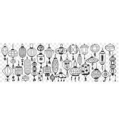 Chinese lanterns hand drawn doodle set vector