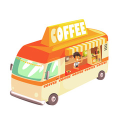 Coffee truck cafe on wheels colorful vector