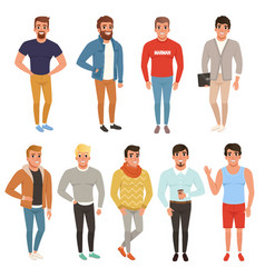 Collection of handsome men in stylish clothing vector