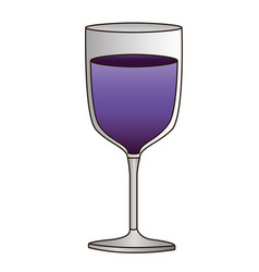 colorful silhouette of glass of wine with purple vector image