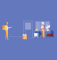 contactless delivery food for old woman vector image