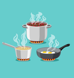 Cooking at home pans vector