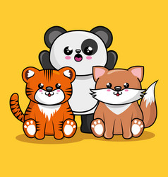 Cute animals characters kawaii style vector
