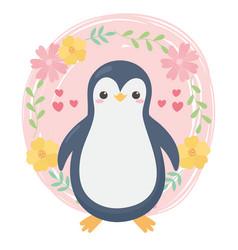 cute little penguin flowers hearts cartoon animal vector image