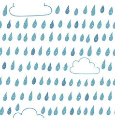 Cute seamless pattern with clouds and raindrops vector image