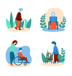 Disabled elderly people set in flat style vector