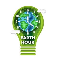 earth hour concept in paper vector image