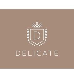 Elegant monogram letter D logotype Premium crest vector