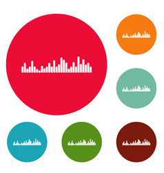 Equalizer vibration icons circle set vector