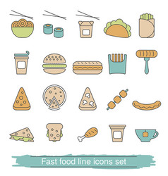 Fast food line icons set fast food line icons set vector