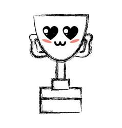 figure kawaii cute tender prize cup vector image
