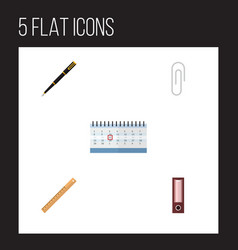 flat icon tool set of nib pen fastener page vector image
