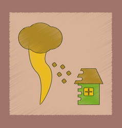 Flat shading style icon tornado destruction house vector