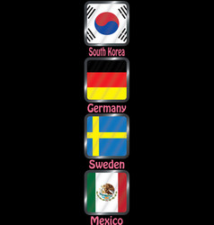football championship flags group f vector image
