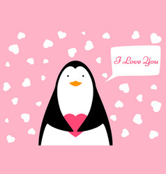 funny cute penguin heart valentine vector image