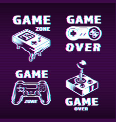 Glitch graphic style gaming labels set vector