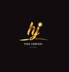 gold alphabet letter hy h y logo combination icon vector image