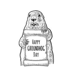 groundhog holding poster engraving vintage black vector image
