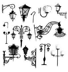 hand drawn doodle city street lantern set ink vector image