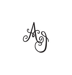 Handwritten monogram ai icon vector