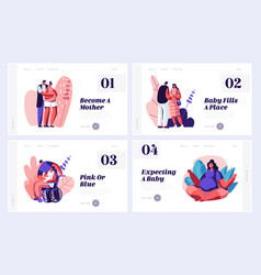 Happy couples waiting bawebsite landing page vector