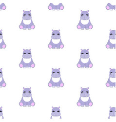 hippo baby pattern seamless vector image