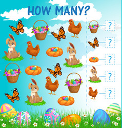 I spy kids game easter characters cartoon riddle vector