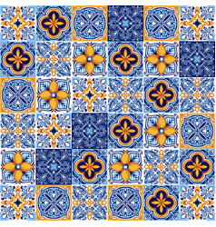 Italian ceramic tile pattern ethnic folk ornament vector