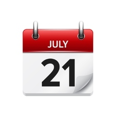 July 21 flat daily calendar icon Date vector
